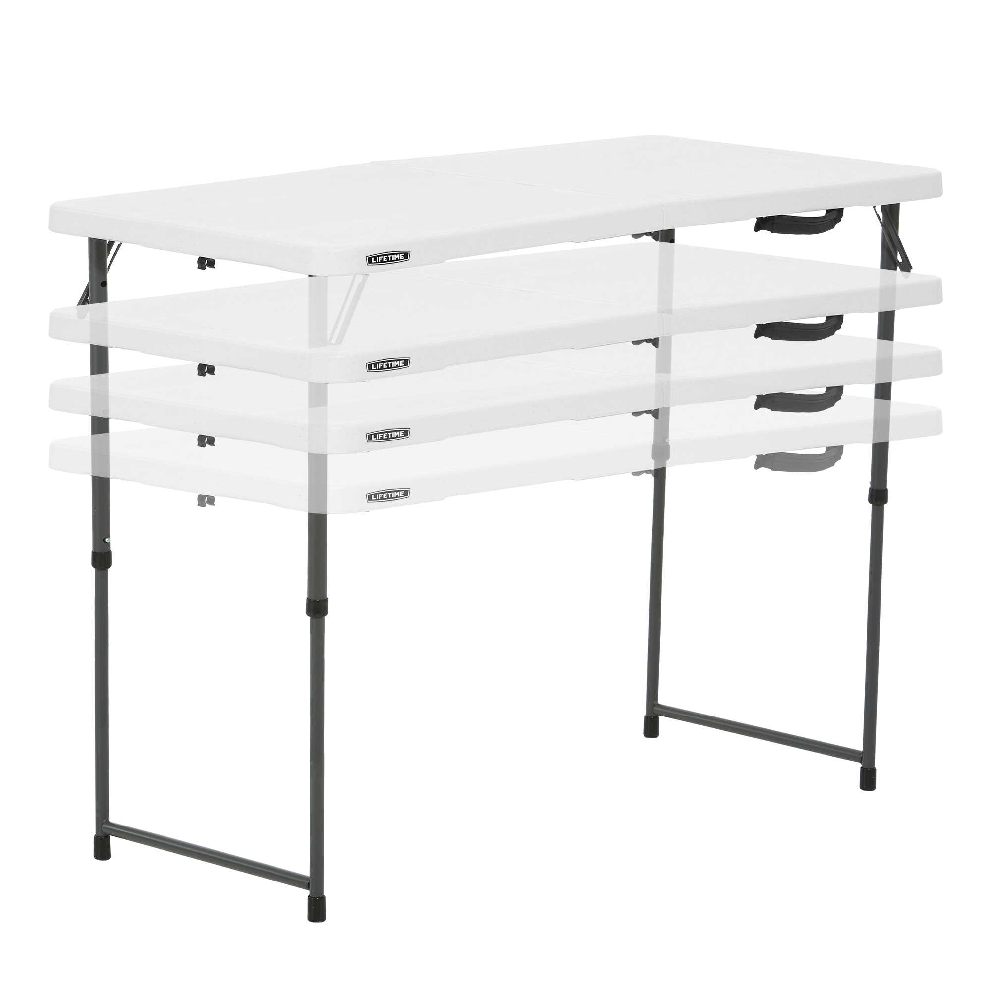 Lifetime 4-Foot Adjustable Fold-In-Half Table (Light Commercial)