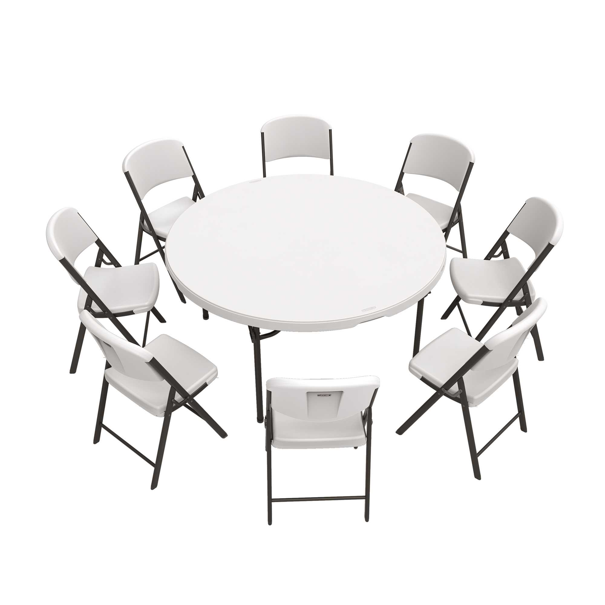 Lifetime 60-Inch Round Table and (8) Chairs Combo