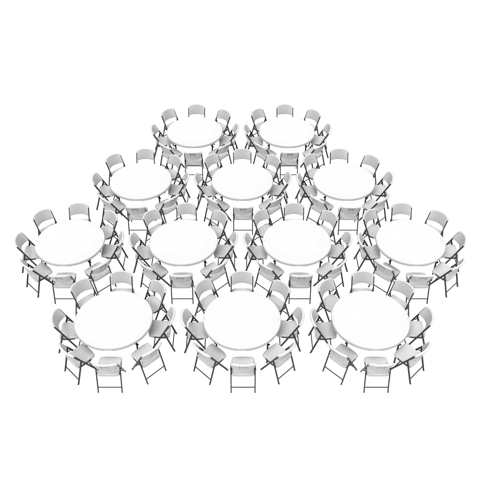Lifetime (12) 60-Inch Round Stacking Tables and (96) Chairs Combo (Commercial)