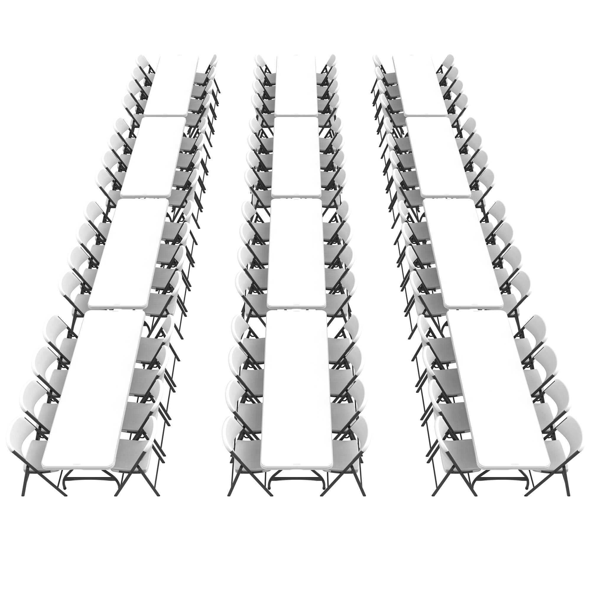 Lifetime (12) 8-Foot Stacking Tables and (96) Chairs Combo (Commercial)