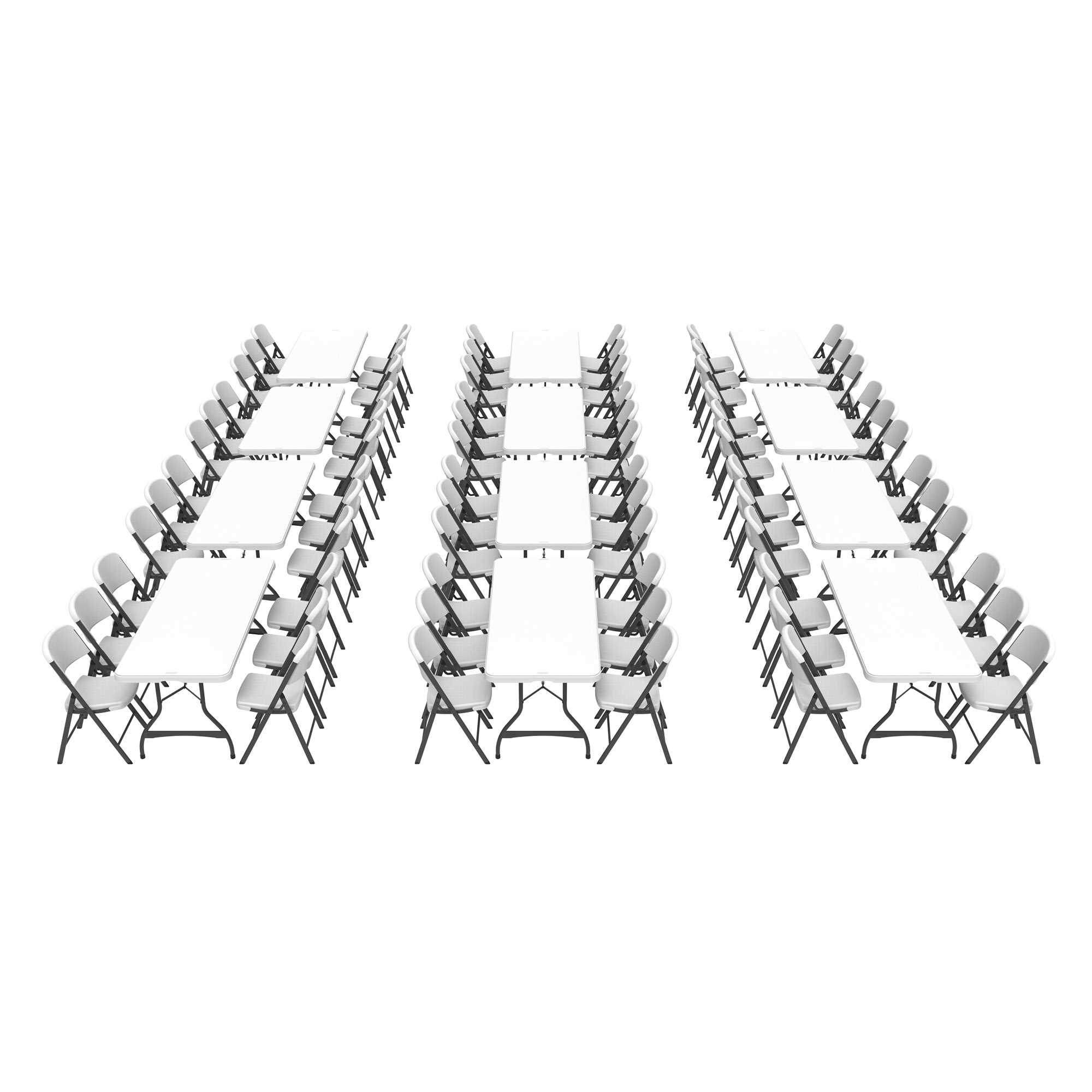 Lifetime (12) 6-Foot Stacking Tables and (72) Chairs Combo (Commercial)