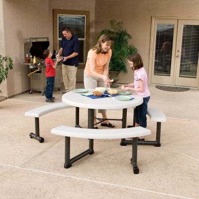 44 in. Round Picnic Table with 3 Swing-Out Benches  8 Pack (Almond), image 3