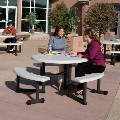 44 in. Round Picnic Table with 3 Swing-Out Benches  8 Pack (Almond), image 5