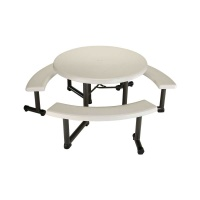 44 in. Round Picnic Table with 3 Swing-Out Benches  (Almond)