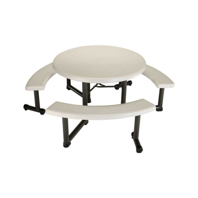 44 in. Round Picnic Table with 3 Swing-Out Benches  (Almond), image 1