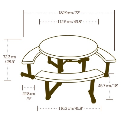 44 in. Round Picnic Table with 3 Swing-Out Benches  (Almond), image 6