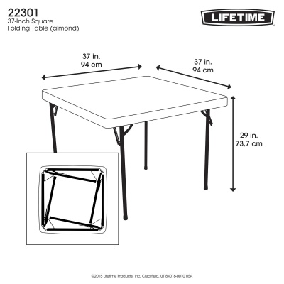 37 in. Square Folding Card Table  (Almond), image 5