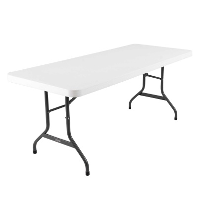 6 ft. Commercial Plastic Folding Banquet Table (White Granite), image 1