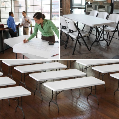 6 ft. Commercial Plastic Folding Banquet Table (White Granite), image 7