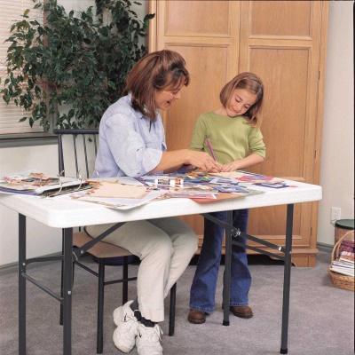 commercial plastic folding utility table white granite - Utility Table