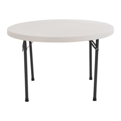 46 in. Commercial Round Plastic Folding Table  (Almond), image 1