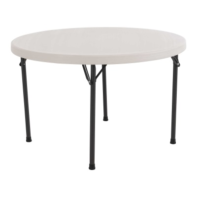 46 in. Commercial Round Plastic Folding Table  (Almond), image 2
