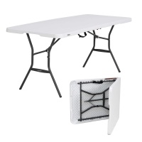 Lifetime 6 ft. Light Commercial Fold-In-Half Table with Handle (Pearl White)