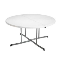 60 in. Commercial Round Fold-In-Half Table (White Granite)