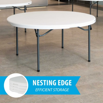 Lifetime 60 in Round Commercial Stacking Folding Table white