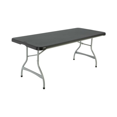 6-Foot Commercial Stacking Folding Table (black), image 1