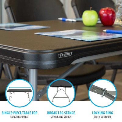 6-Foot Commercial Stacking Folding Table (black), image 4