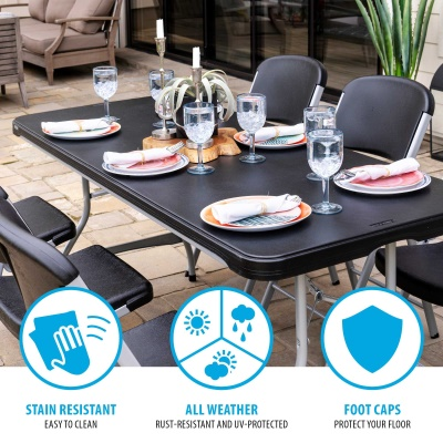 6-Foot Commercial Stacking Folding Table (black), image 6