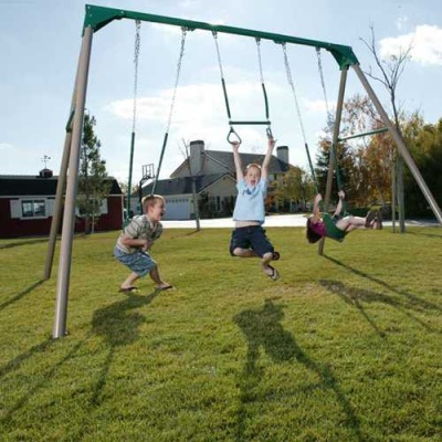 Heavy-Duty A-Frame Metal Swing Set (Earthtone), image 2