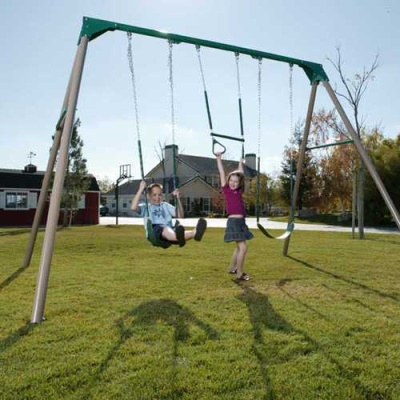 Heavy-Duty A-Frame Metal Swing Set (Earthtone), image 3