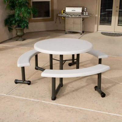 Round Picnic Table With Swing Out Benches 4 Pack (Almond)
