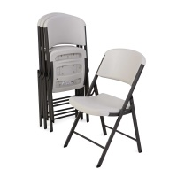 Commercial Contoured Folding Chair  4 Pack (Almond)