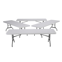 8 Foot Commercial Grade Folding Table 4 Pack White