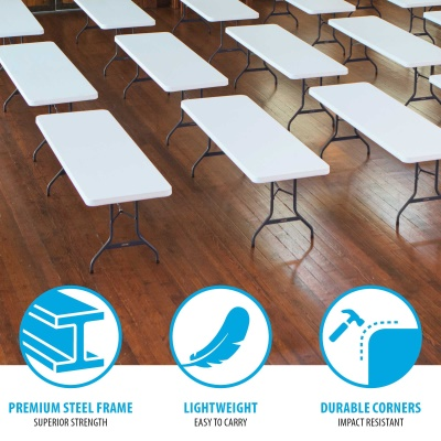 8 foot commercial grade folding table 4 pack white image 6 - 6 Foot Folding Table