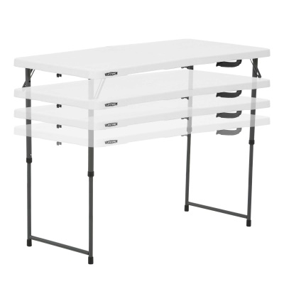 Good Lifetime 4 Ft. Light Commercial Adjustable Height Fold In Half Table With  Carry Handle (White Granite)
