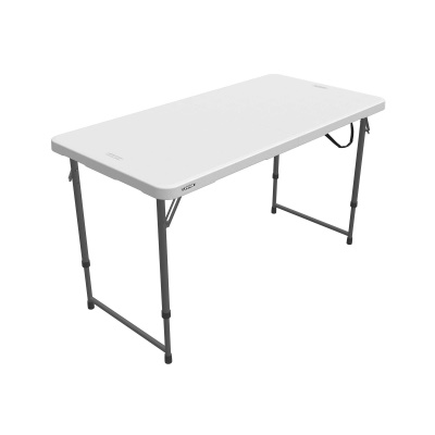 Lifetime 4 ft. Light Commercial Adjustable Height Fold-In-Half Table with Carry Handle (White Granite), image 10