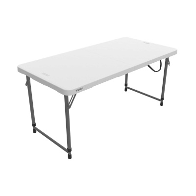 Lifetime 4 ft. Light Commercial Adjustable Height Fold-In-Half Table with Carry Handle (White Granite), image 11