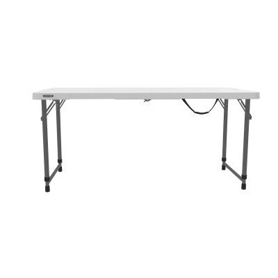 Lifetime 4 ft. Light Commercial Adjustable Height Fold-In-Half Table with Carry Handle (White Granite), image 12