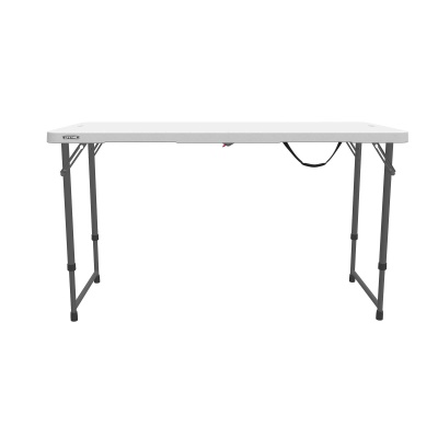 Lifetime 4 ft. Light Commercial Adjustable Height Fold-In-Half Table with Carry Handle (White Granite), image 13