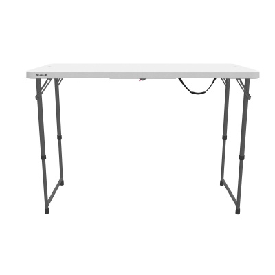 Lifetime 4 ft. Light Commercial Adjustable Height Fold-In-Half Table with Carry Handle (White Granite), image 14