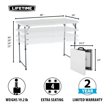 Lifetime 4 ft. Light Commercial Adjustable Height Fold-In-Half Table with Carry Handle (White Granite), image 2