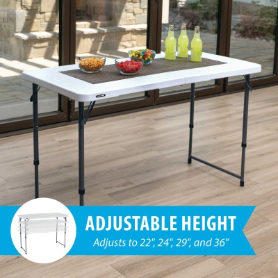 Lifetime 4 ft. Light Commercial Adjustable Height Fold-In-Half Table with Carry Handle (White Granite), image 3
