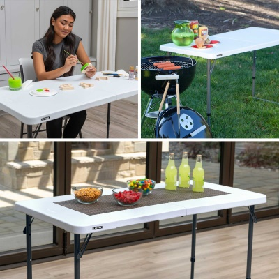 ... Lifetime 4 Ft. Light Commercial Adjustable Height Fold In Half Table  With Carry ...
