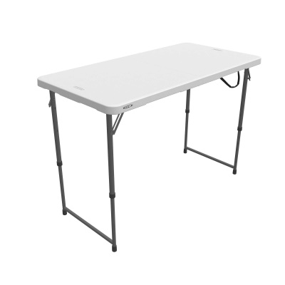 Lifetime 4 ft. Light Commercial Adjustable Height Fold-In-Half Table with Carry Handle (White Granite), image 9