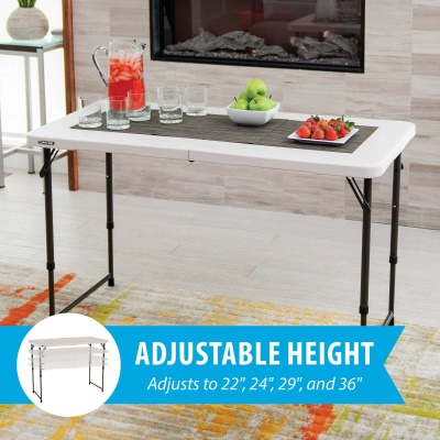 Nice 4 Ft. Light Commercial Adjustable Height Fold In Half Table With Handle 24  Pack (Almond)