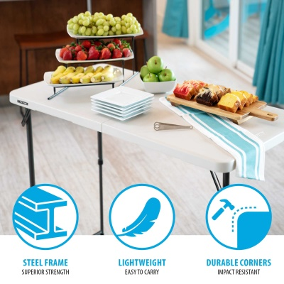 4 Ft. Light Commercial Adjustable Height Fold In Half Table With Handle 24  Pack (Almond)