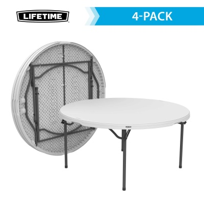 Lifetime 60 in Round Commercial Stacking Folding Table 4pack