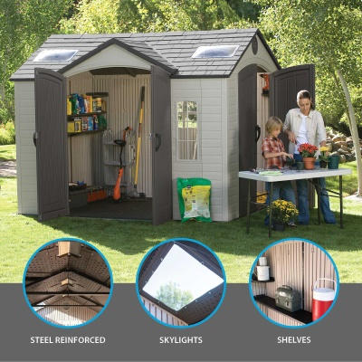 10 x 8 ft Outdoor Storage Shed with Double Doors Front and Side, image 2