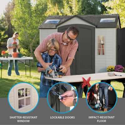 10 x 8 ft Outdoor Storage Shed with Double Doors Front and Side, image 3