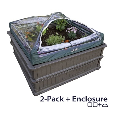 Raised Garden Bed Kit (2 Beds, 1 Vinyl Enclosure), image 1