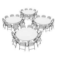 72 in. Commercial Round Tables and Chairs Set (White Granite)