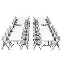 8 ft Banquet Tables and Chairs Set (White Granite)