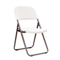 Light Commercial Loop Leg Contoured Folding Chair  4 Pack (White Granite)