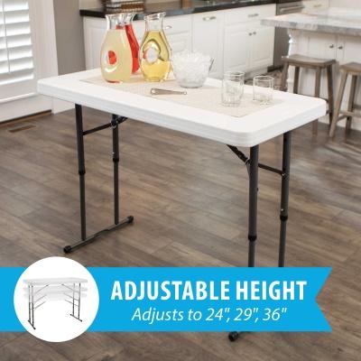 Commercial Adjustable Height Folding Table (White Granite)
