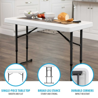 Commercial Adjustable Height Folding Table (White Granite)