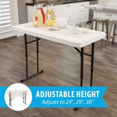 4 ft. Commercial Adjustable Height Folding Table  (Almond), image 3